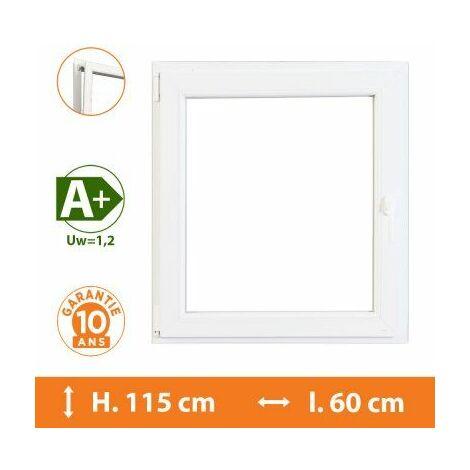 Fenêtre 1 Vantail Blanc - Tirant Droit - H.115 x l.60 cm - Blanc