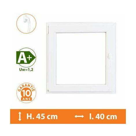Fenêtre 1 Vantail Blanc - Tirant Droit - H.45 x l.40 cm - Blanc