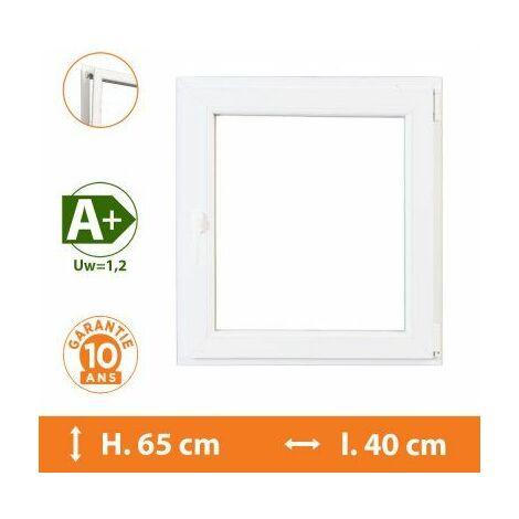 Fenêtre 1 Vantail Blanc - Tirant Gauche - H.65 x l.40 cm - Blanc