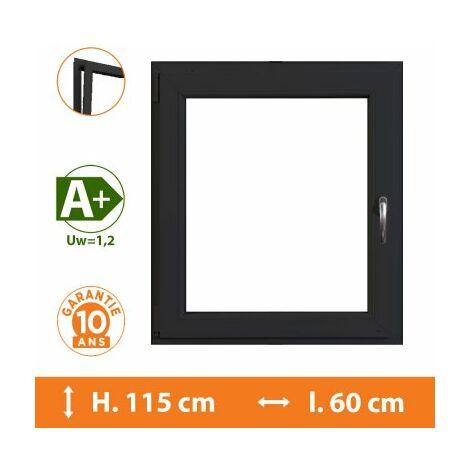 Fenêtre 1 Vantail Gris - Tirant Gauche - H.115 x l.60 cm - Gris