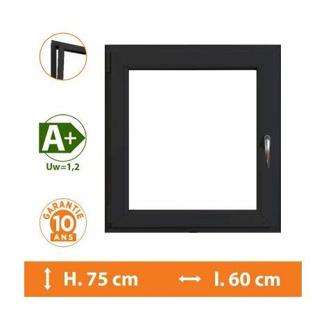 Fenêtre 1 Vantail Gris - Tirant Gauche - H.75 x l.60 cm - Gris