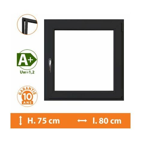 Fenêtre 1 Vantail Gris - Tirant Gauche - H.75 x l.80 cm - Gris
