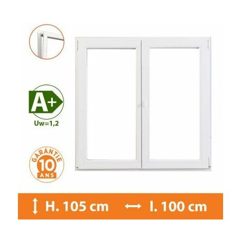 Fenêtre 2 Vantaux Blanc - H.105 x l.100 cm - Blanc