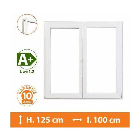 Fenêtre 2 Vantaux Blanc - H.125 x l.100 cm - Blanc