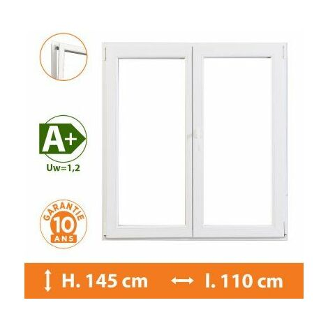 Fenêtre 2 Vantaux Blanc - H.145 x l.110 cm - Blanc