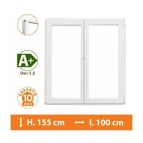Fenêtre 2 Vantaux Blanc - H.155 x l.100 cm - Blanc