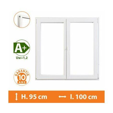 Fenêtre 2 Vantaux Blanc - H.95 x l.100 cm - Blanc