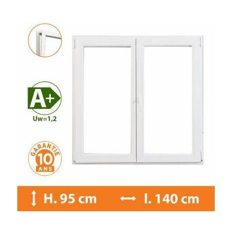 Fenêtre 2 Vantaux Blanc - H.95 x l.140 cm - Blanc