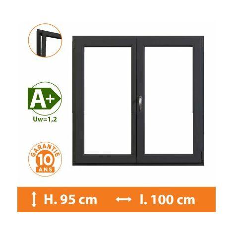 Fenêtre 2 Vantaux Gris - H.95 x l.100 cm - Gris