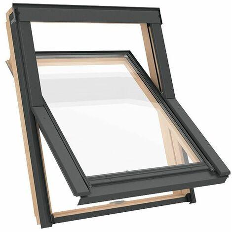 Fenêtre de toit M8A 78 x 140 cm Solstro AVY B900, bois, Finition naturelle en pin, Clapet de ventilation + Raccord d'étanchéité inclus - SFX Raccord d'étanchéité Ardoise