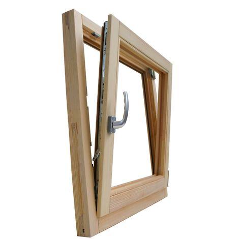 Fenêtre en bois brut de pin 70 x 90 cm double verre thermique avec gaz argon