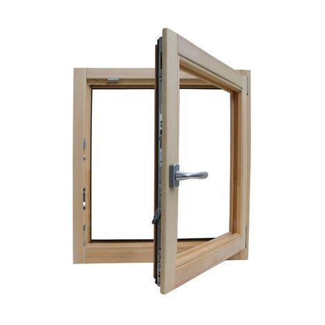 Fenêtre en bois brut de pin 80 x 80 cm double verre thermique avec gaz argon