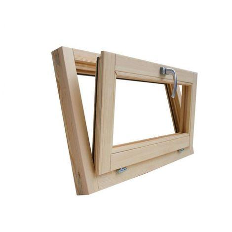Fenêtre en bois brut de pin 90 x 50 cm double verre thermique avec gaz argon