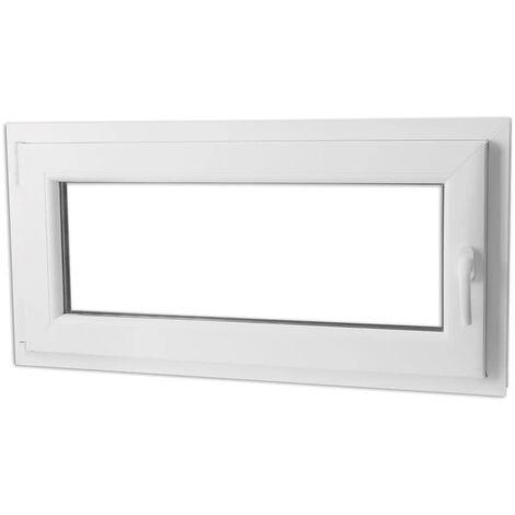 Fenêtre oscillo-battant PVC Double vitrage Poignée droite 1000x500mm ...