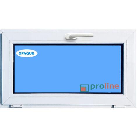 FENÊTRE PVC 1000X500 ABATTANT COULEUR BLANC VERRE OPAQUE ( TRASLUCIDE)