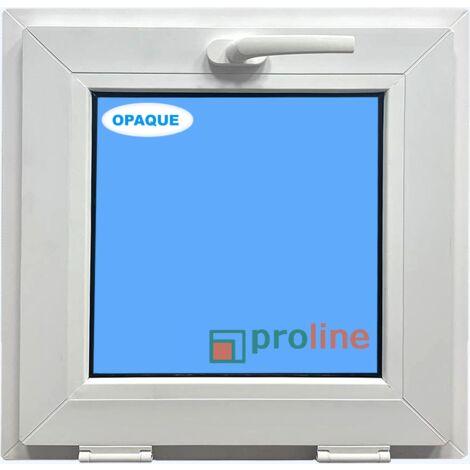 FENÊTRE PVC 500X500 ABATTANT COULEUR BLANC VERRE OPAQUE ( TRASLUCIDE)