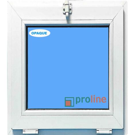 FENÊTRE PVC 500X600 ABATTANT COULEUR BLANC VERRE OPAQUE ( TRASLUCIDE)