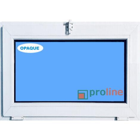 FENÊTRE PVC 800X500 ABATTANT BLANC COULEUR VERRE OPAQUE ( TRASLUCIDE)
