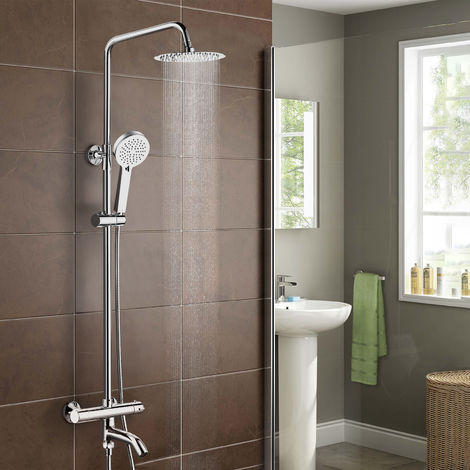 Fenos Round Thermostatic Shower Kit with Bath Filler