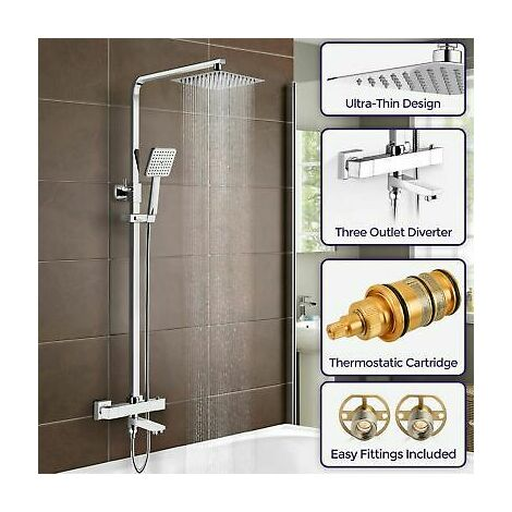 Fenos Square Thermostatic Shower Kit with Bath Filler