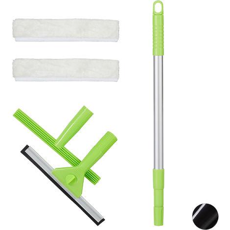 Fensterreinigungsset, 5-teiliges Profiset, Fensterabzieher & -einwascher, 2 Bezüge, mit Teleskopstange, grün