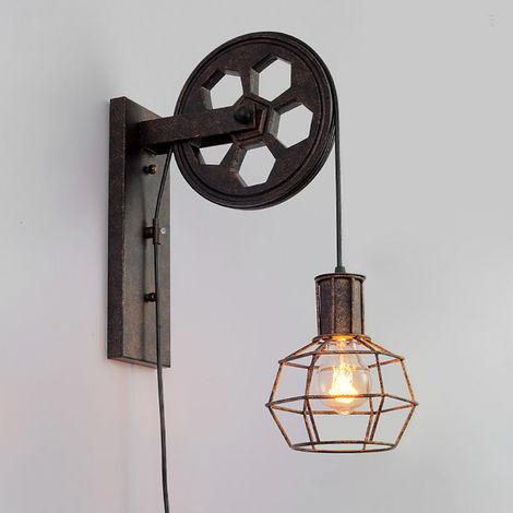Fer Applique Murale Interieur Industrielle Luminaire Poulie