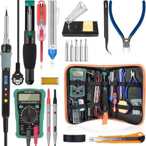 Fer asouder electrique aaffichage numerique reglable en temperature 80 W avec ensemble de couteaux utilitaires multimetre, kit de reparation domestique, EU 220 V