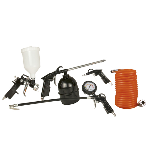 FERM ATM1036 Compressed Air Set - 5-pieces - With Spray gun, Tyre inflator with pressure gauge, Air blow gun, Cleaning gun, 5m Coiled hose with couplers