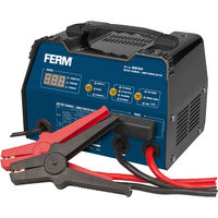 FERM BCM1020 Electronic Battery Charger with Jumpstarter and impulse trickle charger- 6V/12V - Max. 75 Ah - With Battery terminal cables