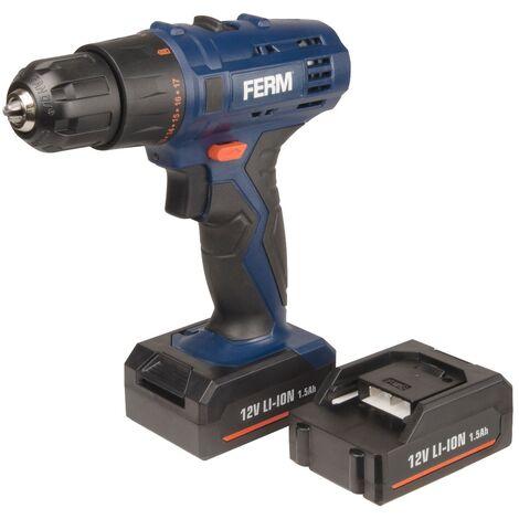 FERM CDM1119 Perceuse sans fil Li-ion 12V 1.5Ah - 2 batteries