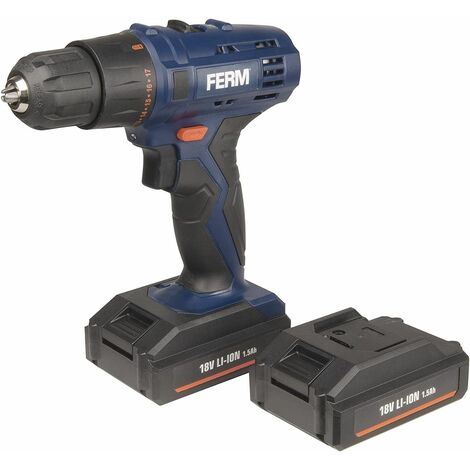 FERM CDM1120 Perceuse sans fil Li-ion 18V 1,5Ah - 2 batteries