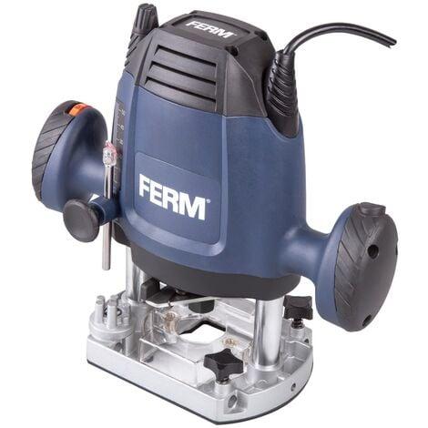 """main image of """"FERM Fresadora 1200W - 6,8 mm - Velocidad variable - 3m de cable - Incluye juego de fresas de 3 piezas, anillo copiador, guía paralela y punto de transferencia"""""""