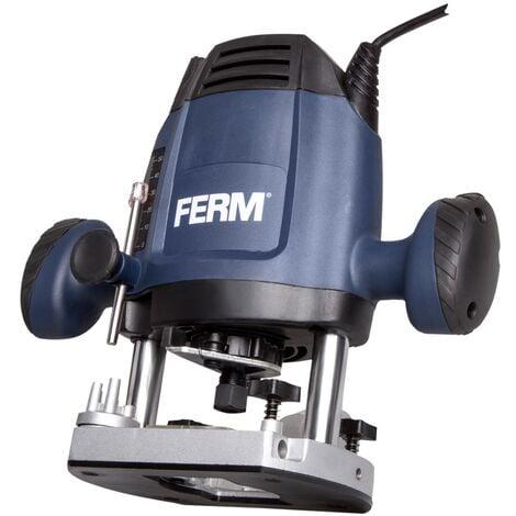 """main image of """"FERM Fresatrice verticale 1200W - 6,8 mm. Velocità variabile. Cavo di alimentazione da 3 metri. Include set di fresatura da 3 pezzi, anello a copiare, guida parallela e punta compasso"""""""