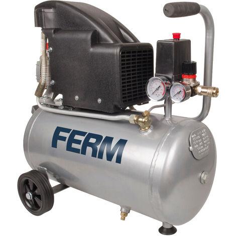 FERM Kompressor - 1100W - 24 Liter - max. 8 bar - Inkl. Universelle Schnellkupplung & 2 Manometer