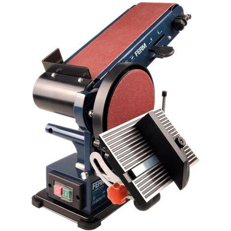 FERM Levigatrice da Banco Combinata 350W - 150mm. Include 2 Nastri Abrasivi (G80 e G120) e 2 Dischi Abrasivi (G80 e G120)
