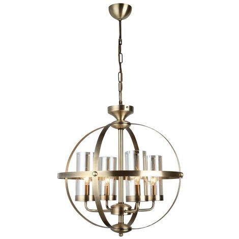Fermo Chandelier - Hanging lamp - Ceiling lamp - Copper made of Metal, Glass, 49 x 49 x 90 cm, 4 x E14, 40 W