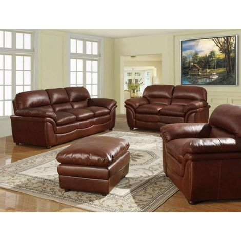 Fernando Sofa Full Bonded Leather 3+2+1 Seater Brown Suites