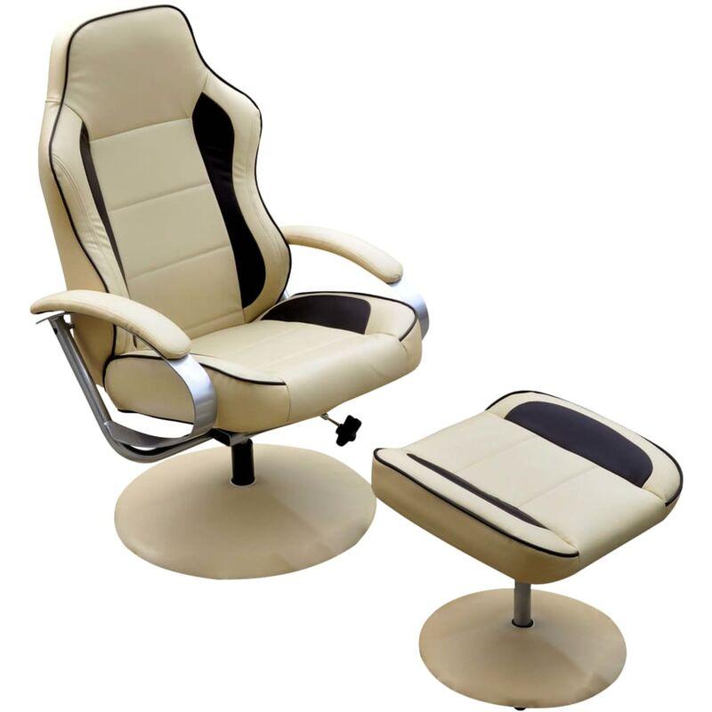 Sessel mit Fußhocker Kunstleder Cremeweiß - VIDAXL