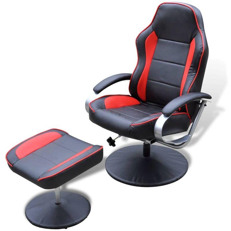 Sessel mit Fußhocker Kunstleder Schwarz Rot - VIDAXL