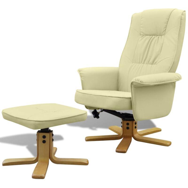 Sessel mit Fußhocker Kunstleder Creme - VIDAXL