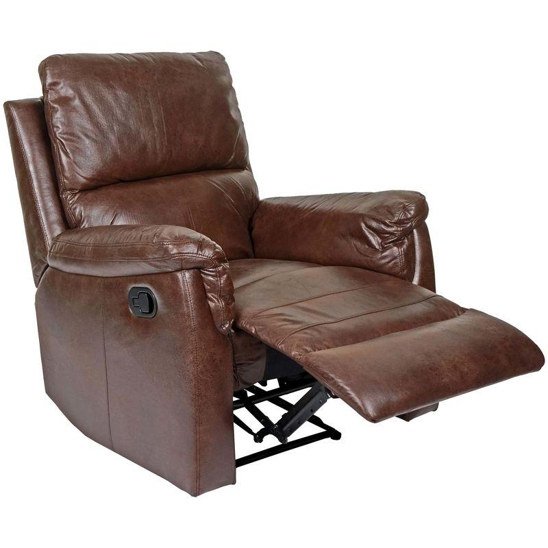 Fernsehsessel HHG-525, Relaxsessel Liege Sessel ~ Stoff/Textil Wildlederimitat braun