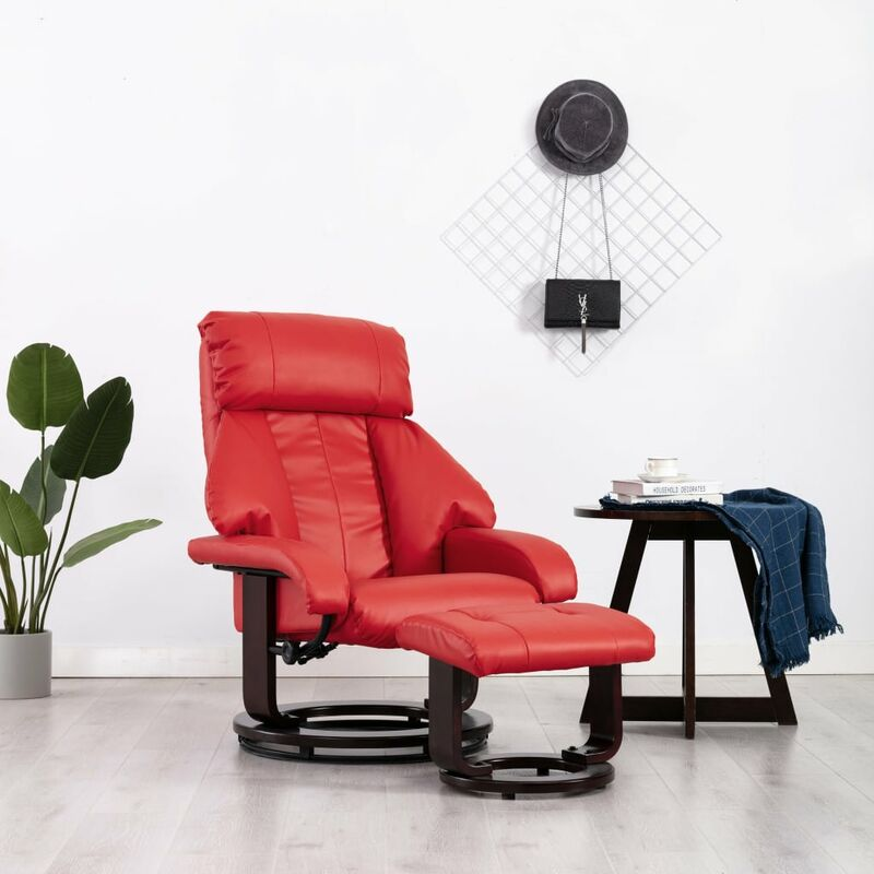 Fernsehsessel mit Fußhocker Rot Kunstleder - VIDAXL