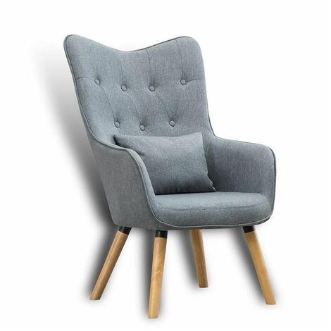 Fernsehsessel Relaxsessel Sessel mit Kissen Lese Stoff Polsterstuhl Wohnzimmer Grau