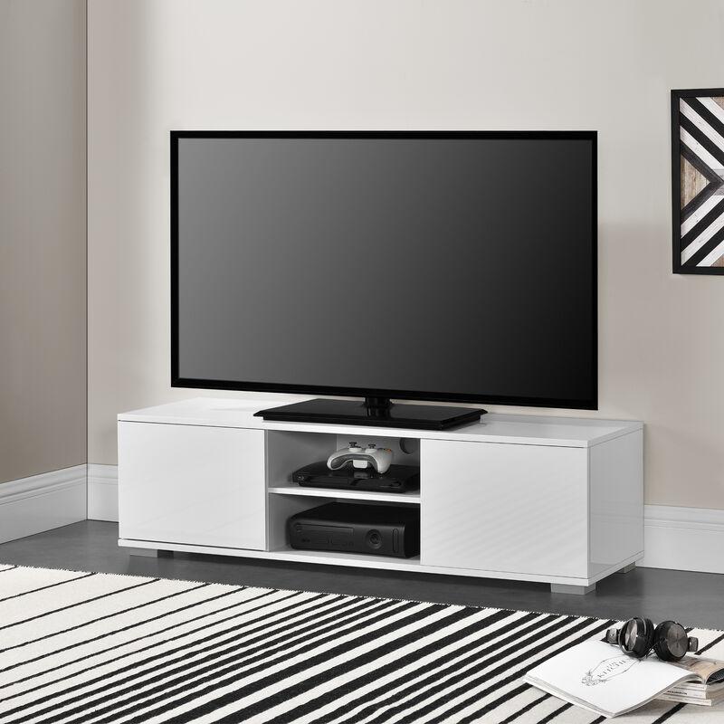 Fernsehtisch TV Lowboard Board Fernseher Schrank Unterschrank Weiß - [EN.CASA]