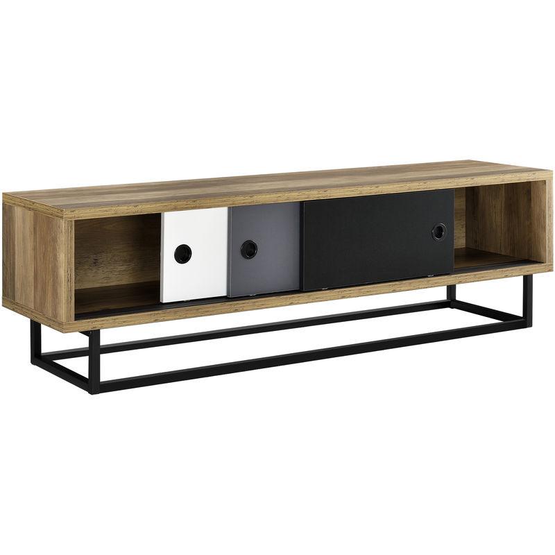 [en.casa] - Lowboard mit Schiebetüren Fernsehtisch Kommode TV Schrank Sideboard