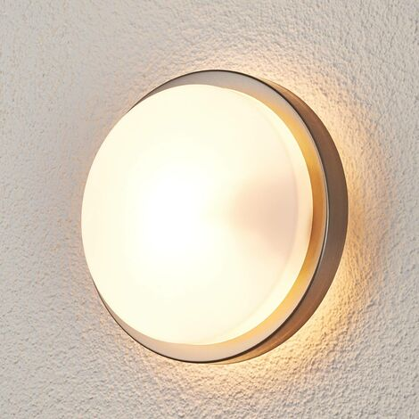 Fero Round Outdoor Wall Lamp, Stainless Steel