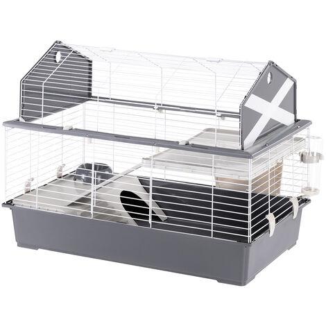 Ferplast BARN 100 Cage pour lapins avec accessoires et adhésifs. Agencement style grange américaine.