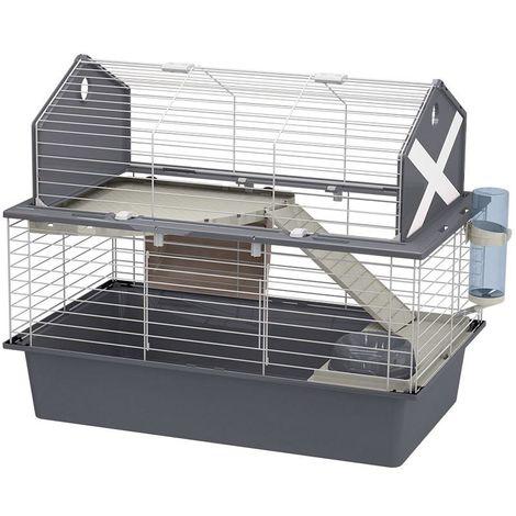 Ferplast BARN 80 Cage pour lapins avec accessoires et auto-collants. Agencement style grange américaine.