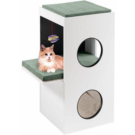 Ferplast BLANCO Meuble en bois pour chats avec maisonnettes et bois à griffer. Variante BLANCO - Mesures: 40 x 55 x h 80 cm -