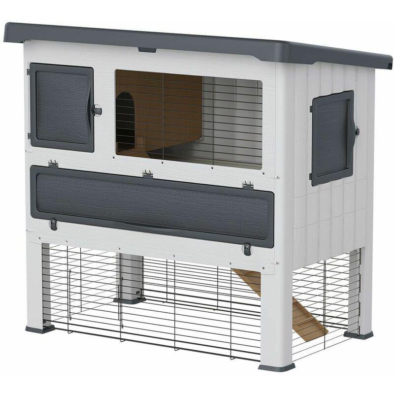 Ferplast GRAND LODGE Clapier à lapins en résine thermoplastique à deux étages. Variante 120 - Mesures: 115,5 x 73 x h 110 cm - Gris - Gris
